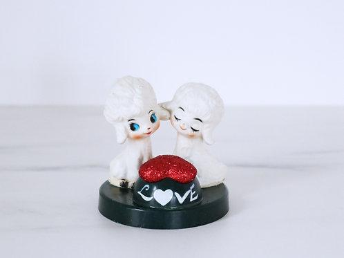 Vintage Kitsch Plastic Poodle Love Heart Pair - Vintage Valentines