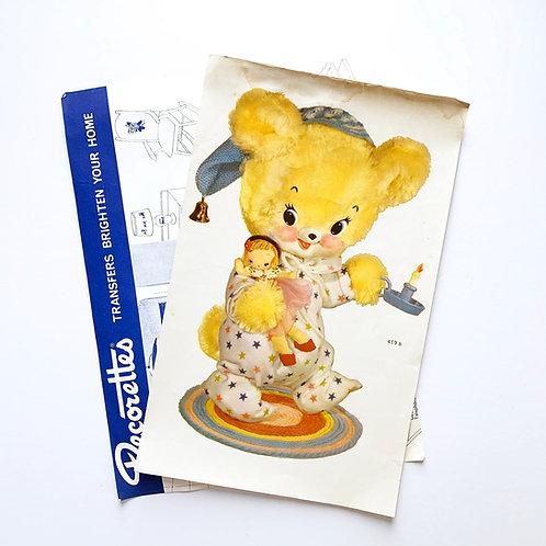 Original Vintage Kitschy Cute Yellow Bear Wall Decal