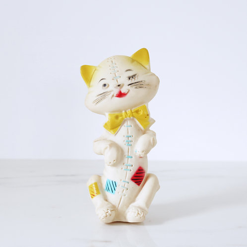 Vintage Patchwork Kitty Cat Squeaky Toy - Made In The USA