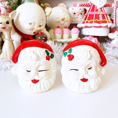 Vintage Winking Eye Santa Salt & Pepper Shakers