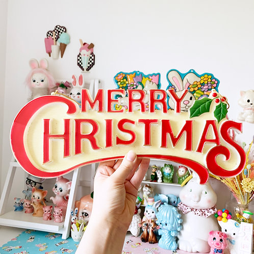 Vintage Plastic Merry Christmas Hanging Sign