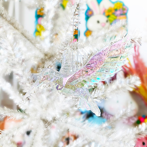 Iridescent & Glitter Acrylic Hummingbird Christmas Decoration