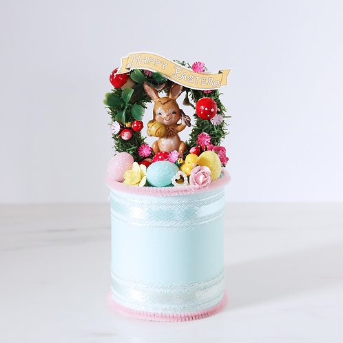 Beautiful Vintage Easter Wreath Handcrafted Decoration