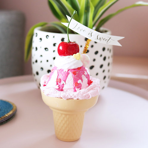 Fake Pink Single Scoop Ice Cream With Heart Sprinkles & A Cherry On Top