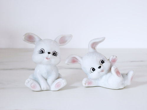 Vintage HOMCO White Bunny Rabbit Figurine Set Of 2