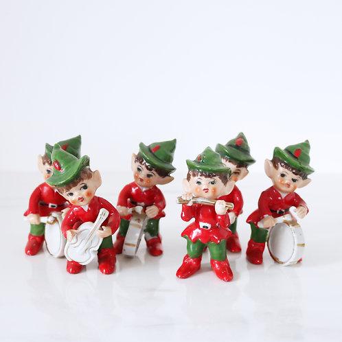 Vintage Kitschmas Pixie Band Set Of 6 Figurines