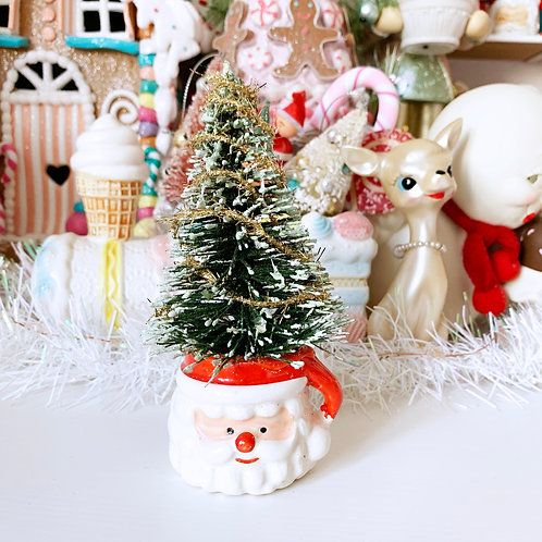Vintage Kitsch Mini Santa Mug Christmas Tree Decoration