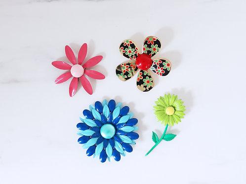 Vintage 1960s American Enamel Bold Flower Brooches