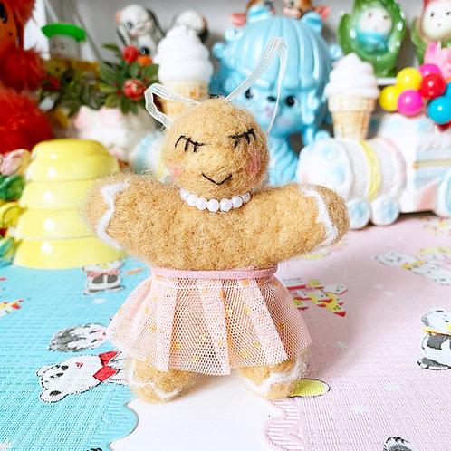 Sweet Pink Glitter Tutu Gingerbread Felt Christmas Decoration