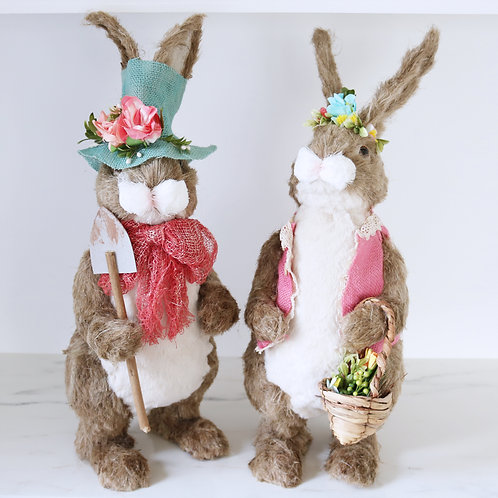 Large Mr & Mrs Easter Rabbit With Floral Hats Prop Decorations - Sold Separately