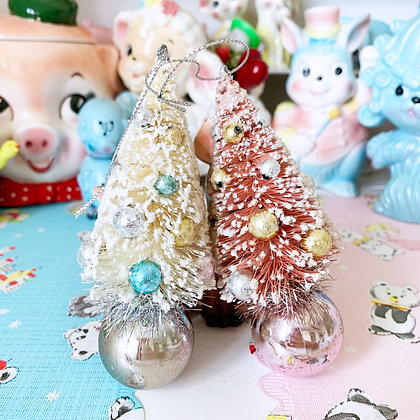 Vintage Style Bristle Christmas Tree On A Ball Pink Or White