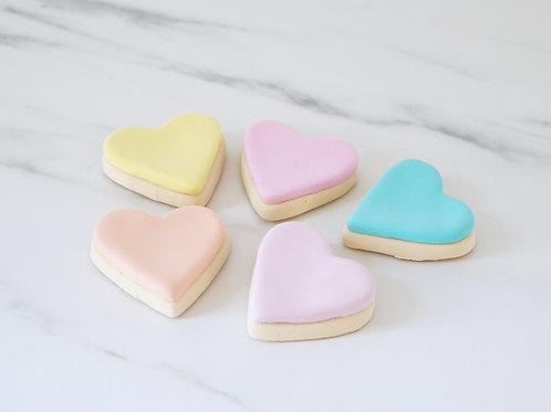 Set of 5 Faux Fondant Pastel Heart Cookies Display Props