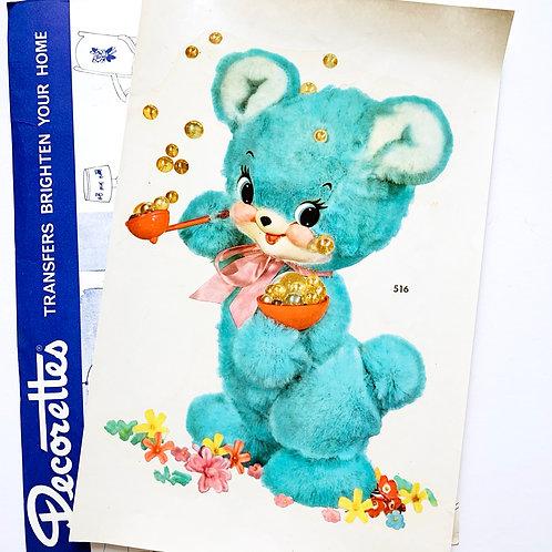 Original Vintage Large Kitschy Cute Blue Bear Wall Decal