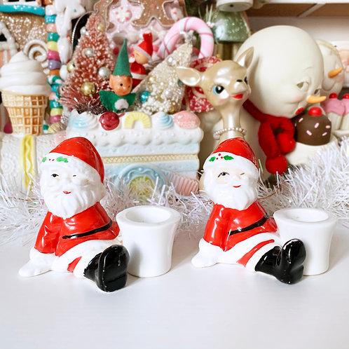 Vintage Sitting Santa Candle Holder Set Of 2