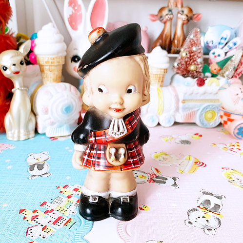 Sweet Vintage Plaid Scottish Girl Squeaky Toy Made By Combex