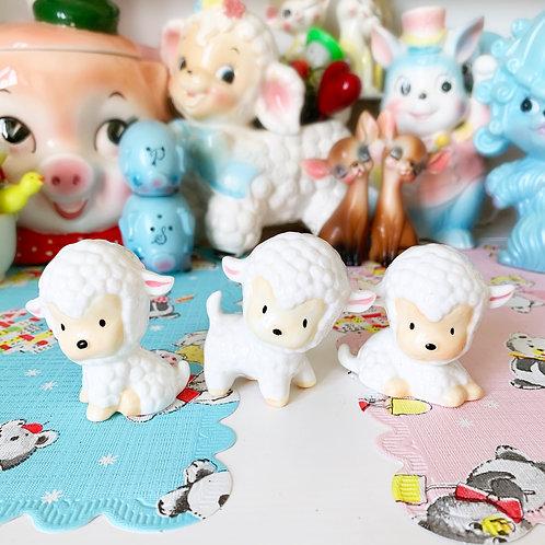 Vintage Kawaii Lamb Family Of 3