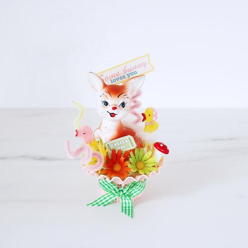 Kitsch Spring Bunny Rabbit Handcrafted Decoration