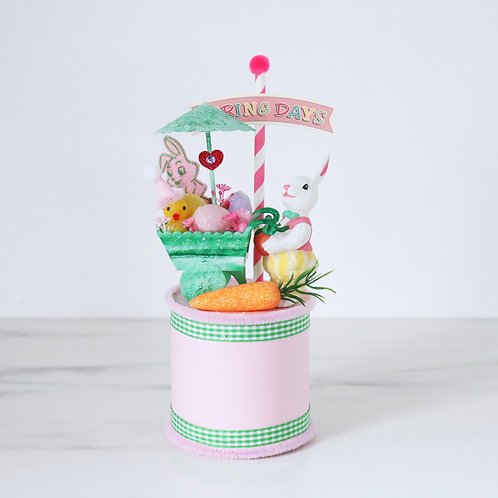 Vintage Easter Bunny Cart Handcrafted Decoration