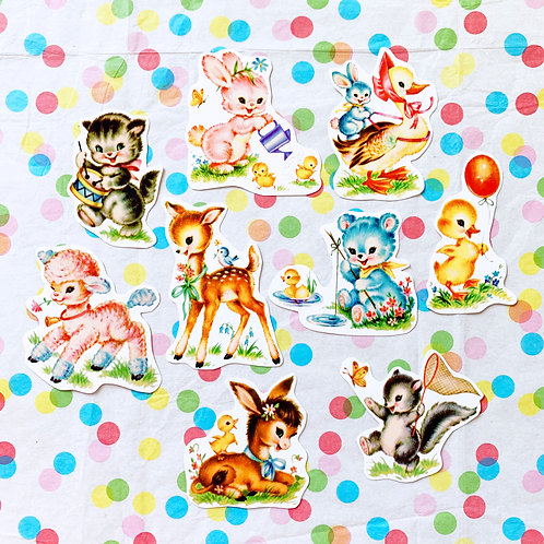 Kitschy Cute Nursery Handmade Sticker Pack Set of 9