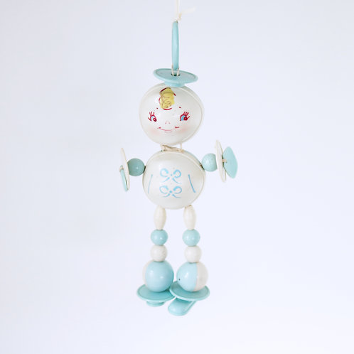 Vintage Kitsch Plastic Baby Rattle Person