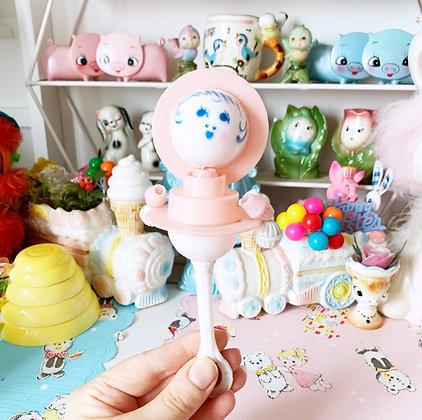 Vintage Plastic Pink Doll Rattle