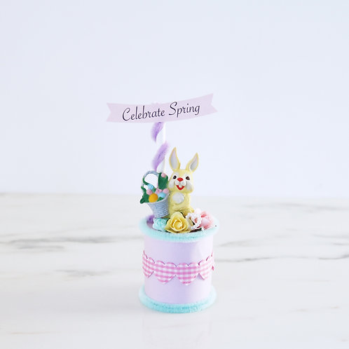 Pretty Pastel Vintage Style Easter Bunny Decoration