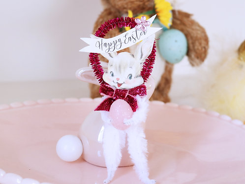 Vintage Style Bump Chenille Easter Bunny Decoration