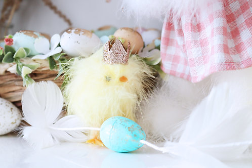 Little Fluffy Chick With A Gold Glitter Crown
