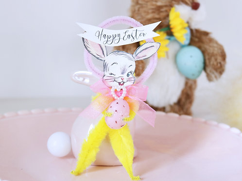 Vintage Style Yellow & Pink Bump Chenille Easter Bunny Decoration