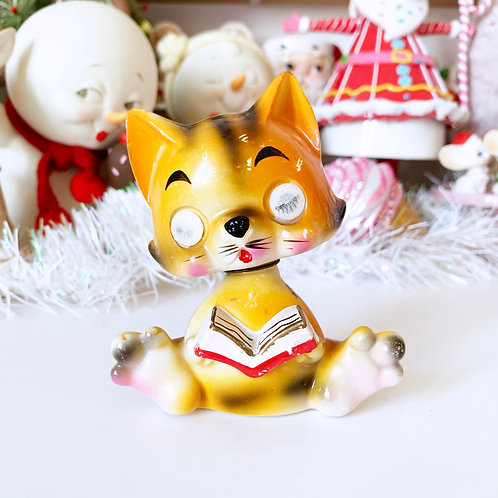 RESERVED Vintage Ceramic Tiger Kitty Cat Winking Bobble Head Ornament