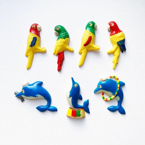 Vintage Novelty Parrot & Dolphin Magnet Sets