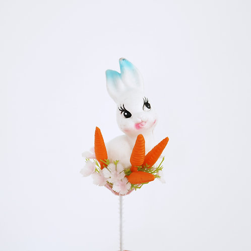 Pretty Vintage White &  Blue Bunny Plastic Easter Pick