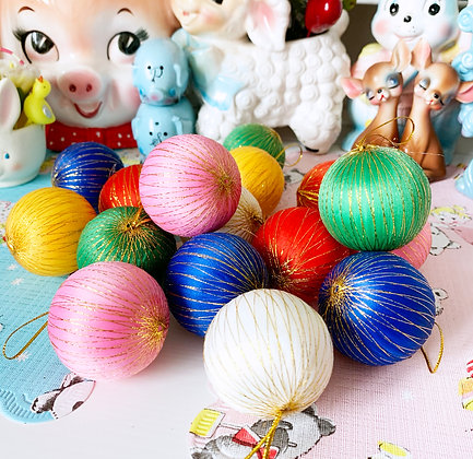 Lot of 16 Vintage Style Colourful  Satin Baubles