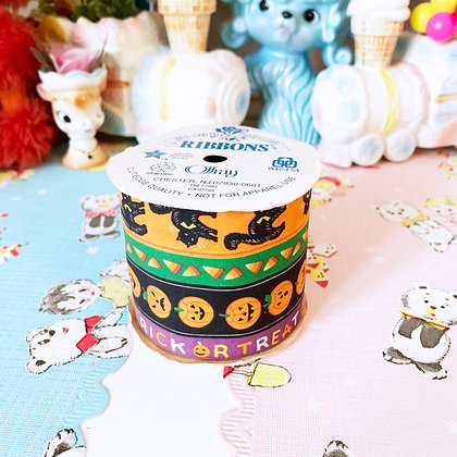 Vintage Halloween Fabric Ribbon  - Never Used