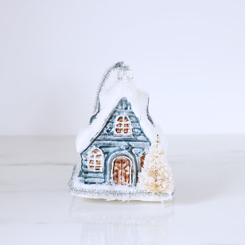 Baby Blue Vintage Style Glass Chalet Christmas Decoration