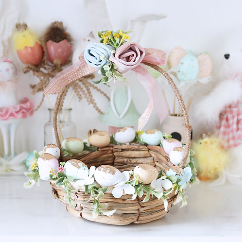 Stunning Vintage Style Pastel Easter Basket Display Prop
