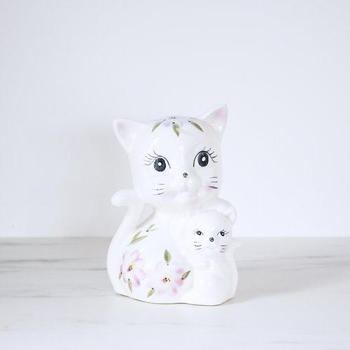Vintage Floral Kitty Cat Pair Money Box