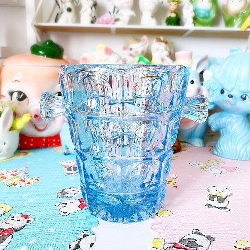 Stunning Vintage Blue Glass Ice bucket
