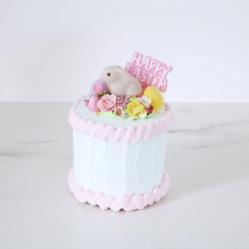 Vintage Style Faux Floral Easter Bunny Cake Decoration Prop