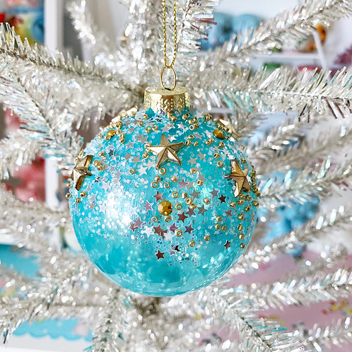 Turquoise & Gold Stars Glass Christmas Bauble
