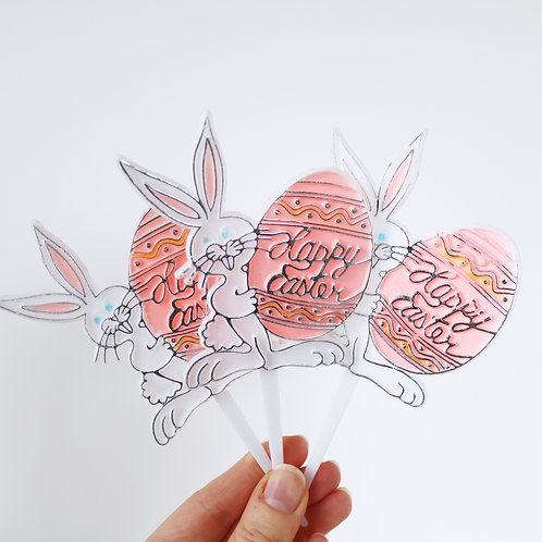 Kitsch Easter Bunny Plastic Cake Picks