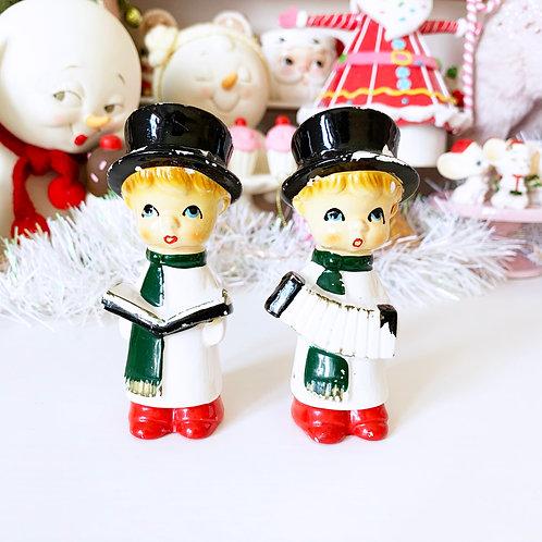 Vintage Christmas Caroler Salt And Pepper Shaker Set