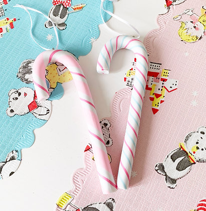 Pretty Pink & Blue Christmas Candy Cane Decorations
