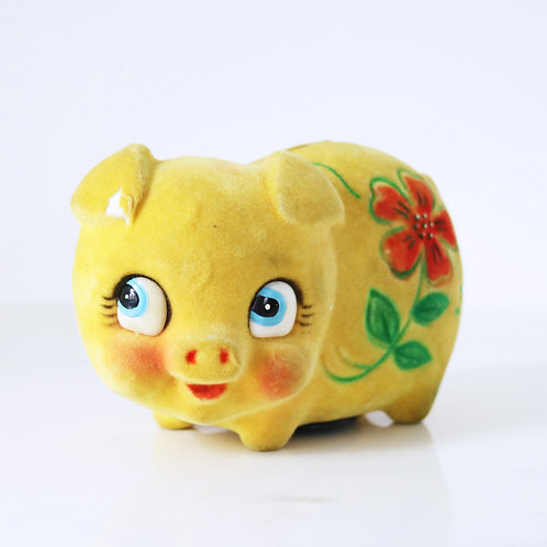 Vintage Flocked Floral Piggy Bank