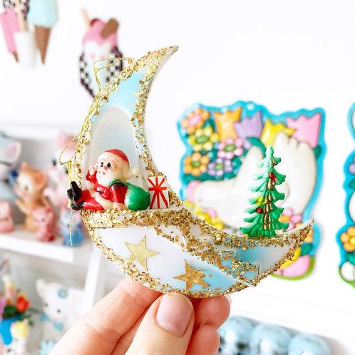 Vintage Plastic Santa Moon Christmas Decoration