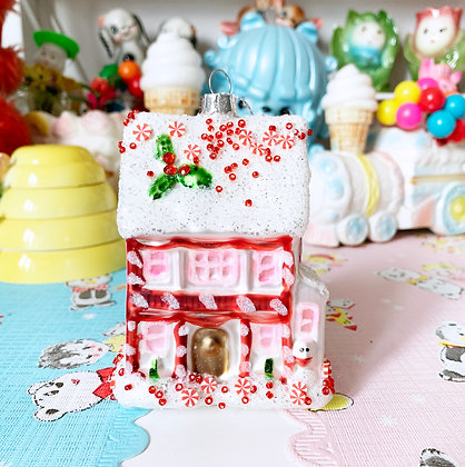 Pretty Pink Fairytale Gingerbread House Glass Bauble