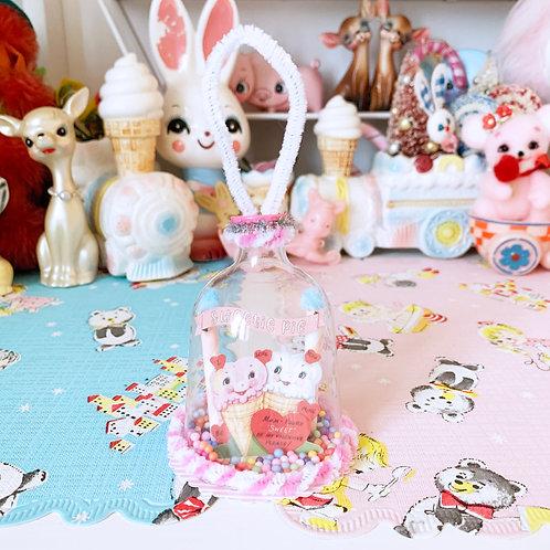 Vintage Valentines Anthropomorphic Ice Cream Handcrafted Kitsch Bell Decoration