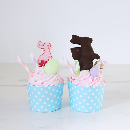 Set of 2 Pastel Easter Kitsch Faux Cupcakes
