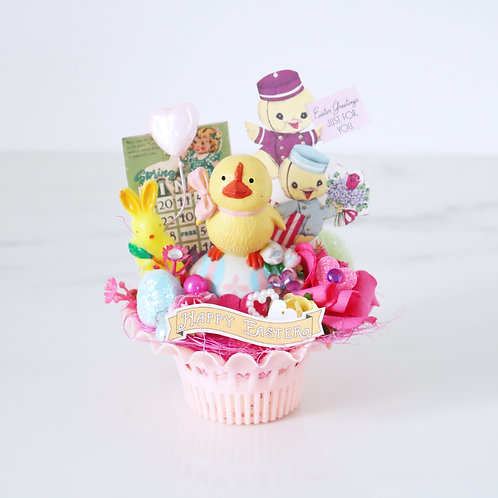 Colourful  Vintage Style Easter Chick Decoration