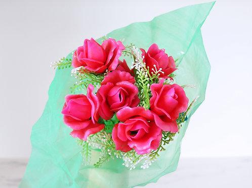 A Bunch Of Vintage Plastic Dark Pink Roses